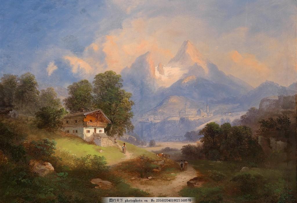 欧式油画房子树林山水 风景图片 环保 环境 大自然 摄影 自然景观