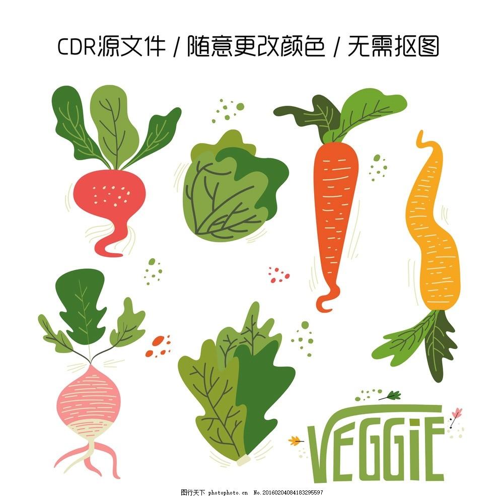 红色背 景 cdr源文件 cdr手绘素材 蔬菜 胡萝卜 卷心菜 萝卜 生菜