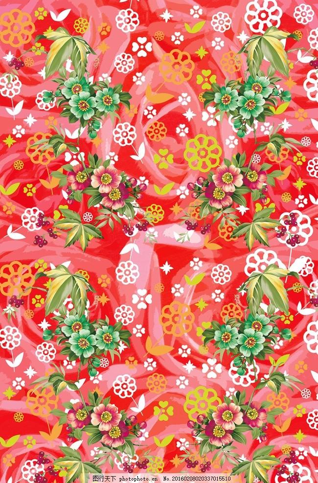 手绘红色花型图案 粉红玫瑰 家纺面料 蝴蝶花 手绘玫瑰 服装 服饰