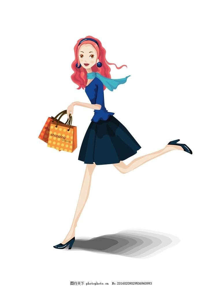 女生 38妇女节 妇女节 手绘 插画 女郎 卡通 卡通人物 卡通美女 时尚