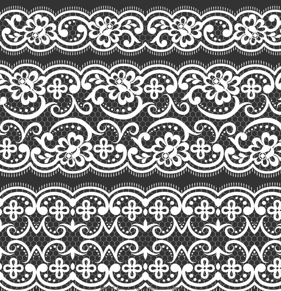 黑白装饰花纹 黑白欧式花纹 黑白蕾丝花纹 黑白蕾丝花边 边框 花纹