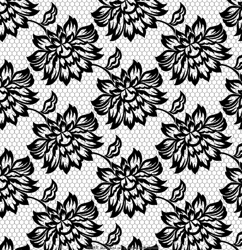 黑白蕾丝花边 蕾丝 花边 边框 花纹 欧式花纹 花纹背景 时尚花纹 矢量