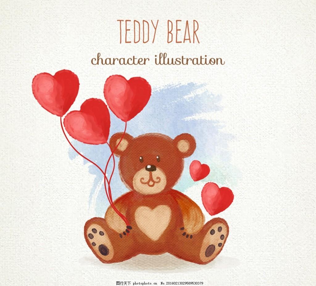 情人节小熊 情人节玩具熊 爱心气球 情人节 心形 桃心 红色 小熊 玩具