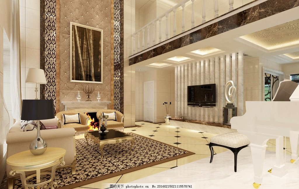 复式楼效果图 家装设计 楼梯设计 背景墙设计