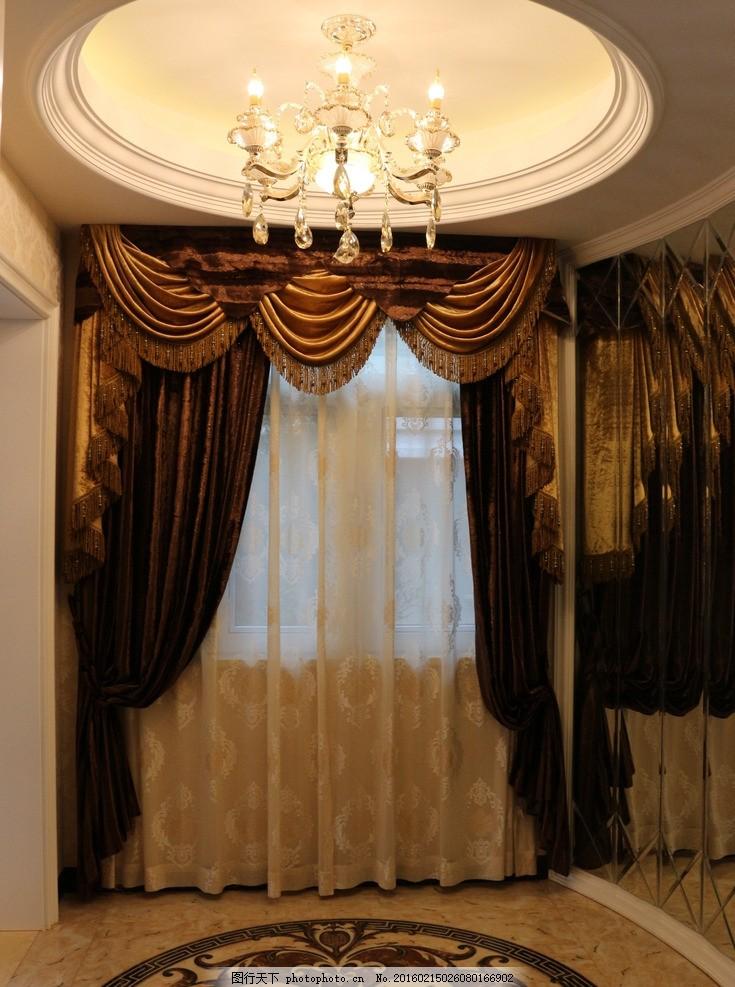 楼梯口装饰 楼梯口 玄关 窗帘 吊顶 瓷砖 圆形 欧式 古典 奢华 吊灯