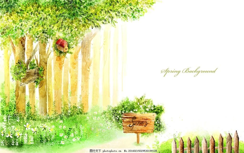 卡通森林,卡通背景 儿童剧背景 手绘森林 舞台幕布-图