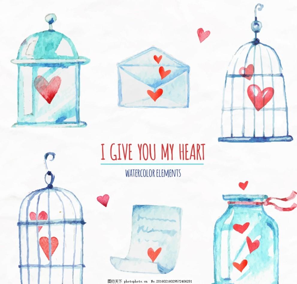 手绘爱心元素 手绘 水彩 爱心元素 信封 情书 信纸 鸟笼 设计 广告