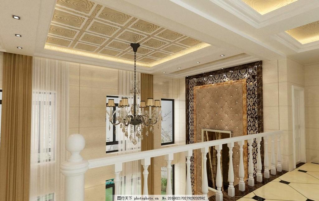 装饰效果图 家装 客厅 餐厅 走廊 吊顶 简欧 欧式风格 复式
