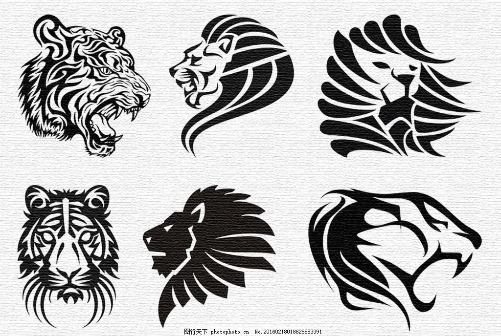 刺青图案 刺青 纹身 黑白 图案 老虎头 狮子头 t恤&amp 图案 设计
