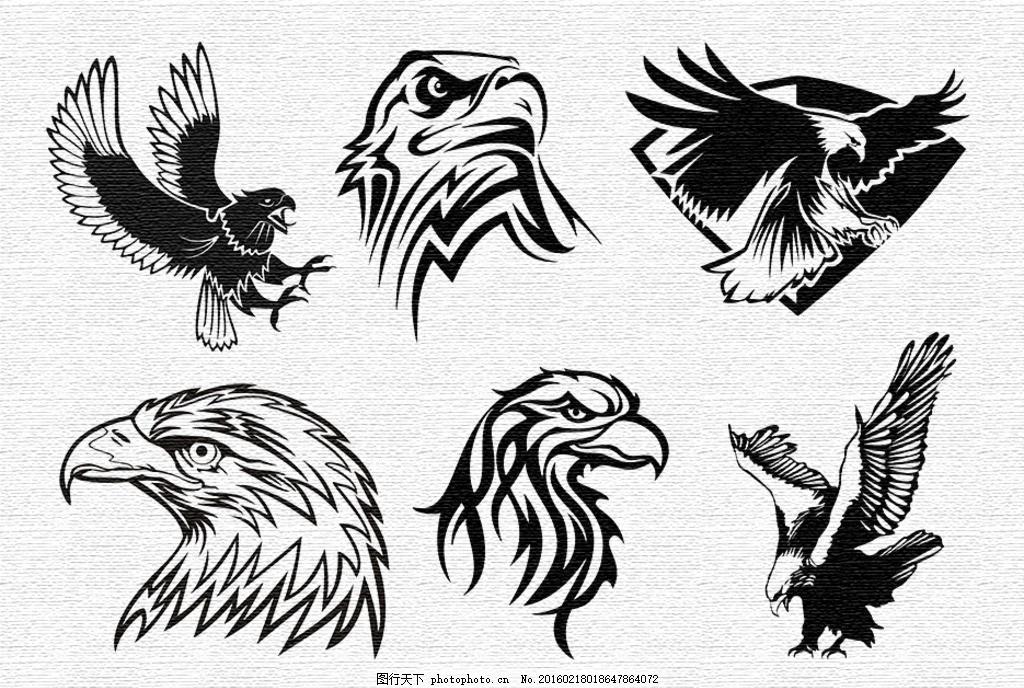 刺青图案 刺青 纹身 黑白 图案 鹰 头 展翅飞翔 t恤amp 图案 设计