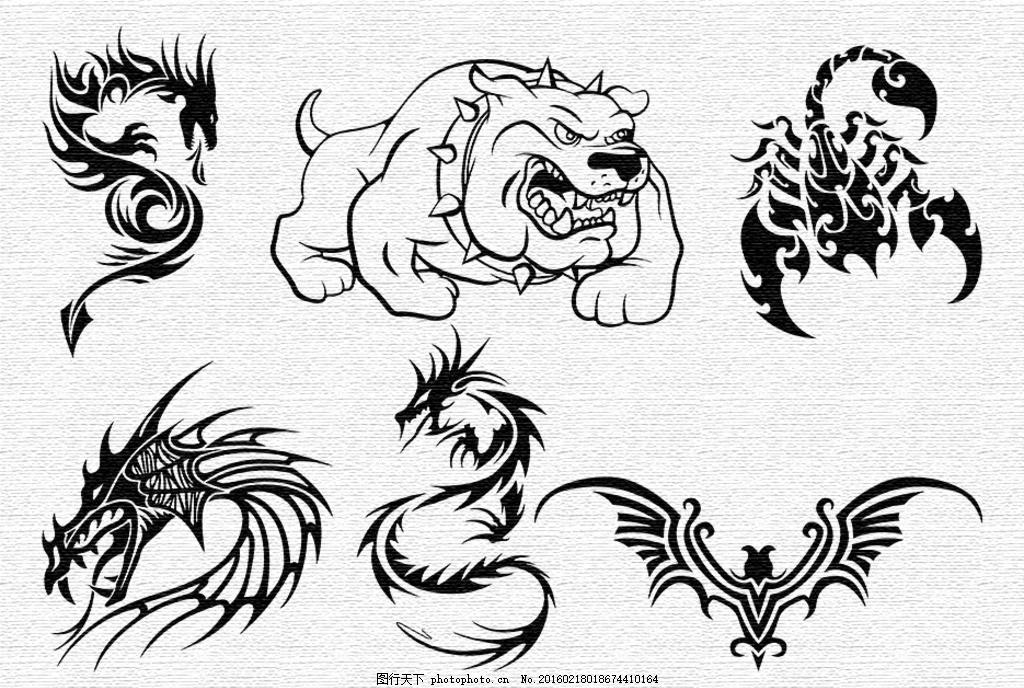 刺青图案 刺青 纹身 黑白 图案 蝙蝠 蝎子 老虎狗 龙 t恤&amp 图案