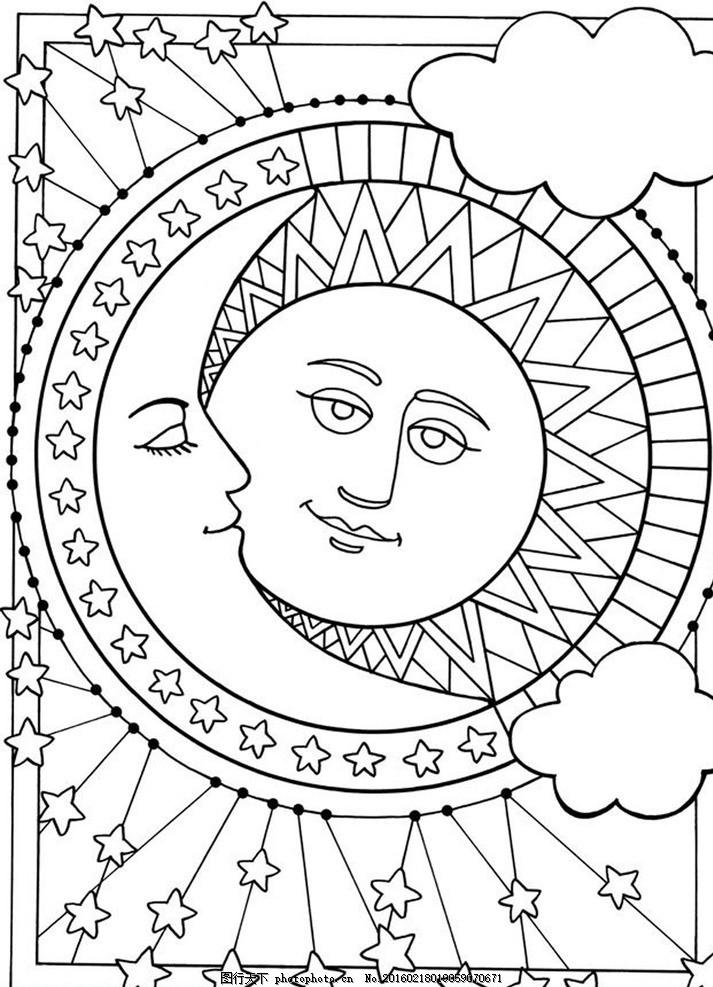 秘密花园填色卡 太阳 云朵 简笔画 小学生 绘画
