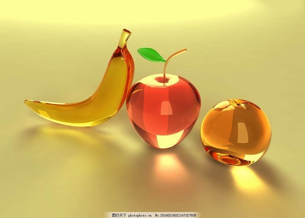 水晶桌面壁纸高清_水晶水果 香蕉 苹果 橙 精美壁纸 高清