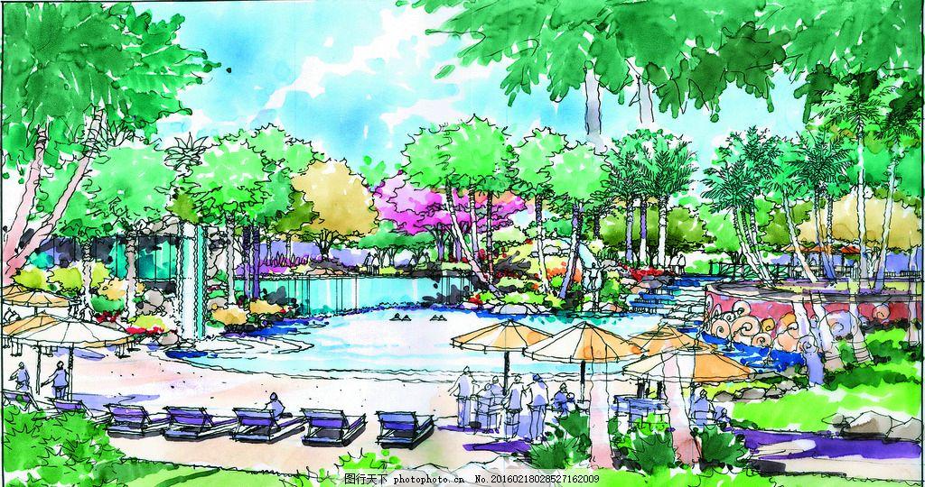透视效果图水上乐园 手绘 表现 配景 园林 景观 建筑 植物 建筑设计