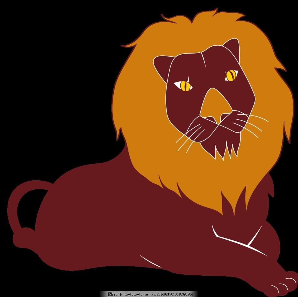 狮子 可爱 卡通 海报 动物 黑色 动漫 美丽 童话 动漫动画