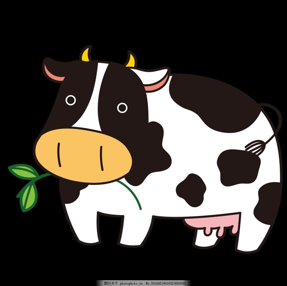 可爱的奶牛 卡通 海报 动物 黑色 动漫 美丽 童话 动漫动画