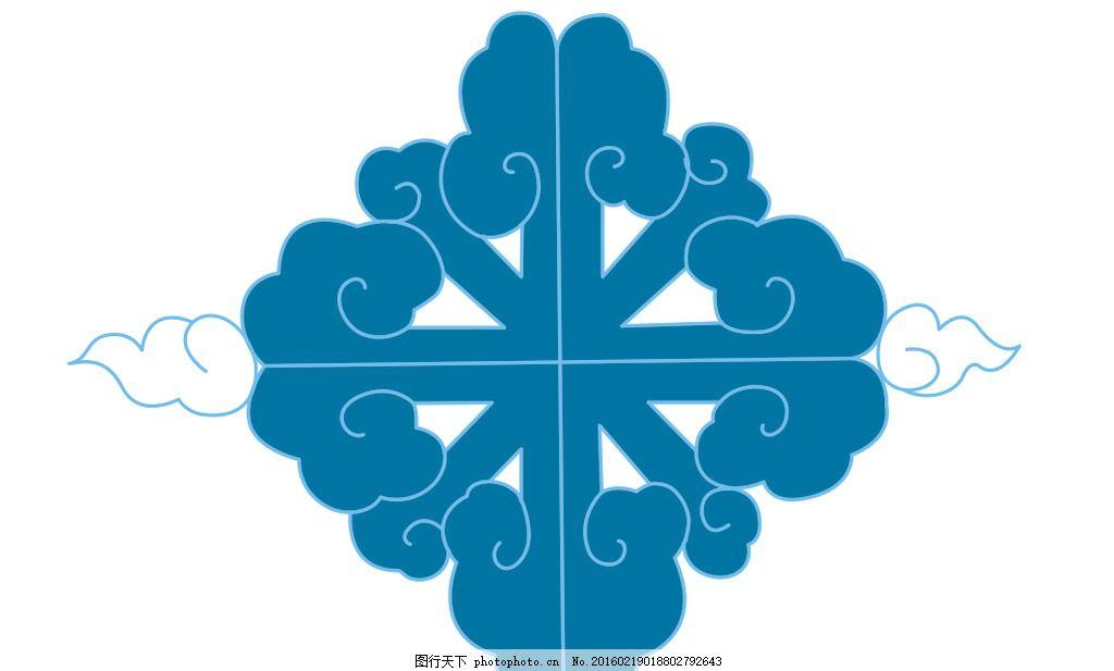 蓝色方形祥云图案