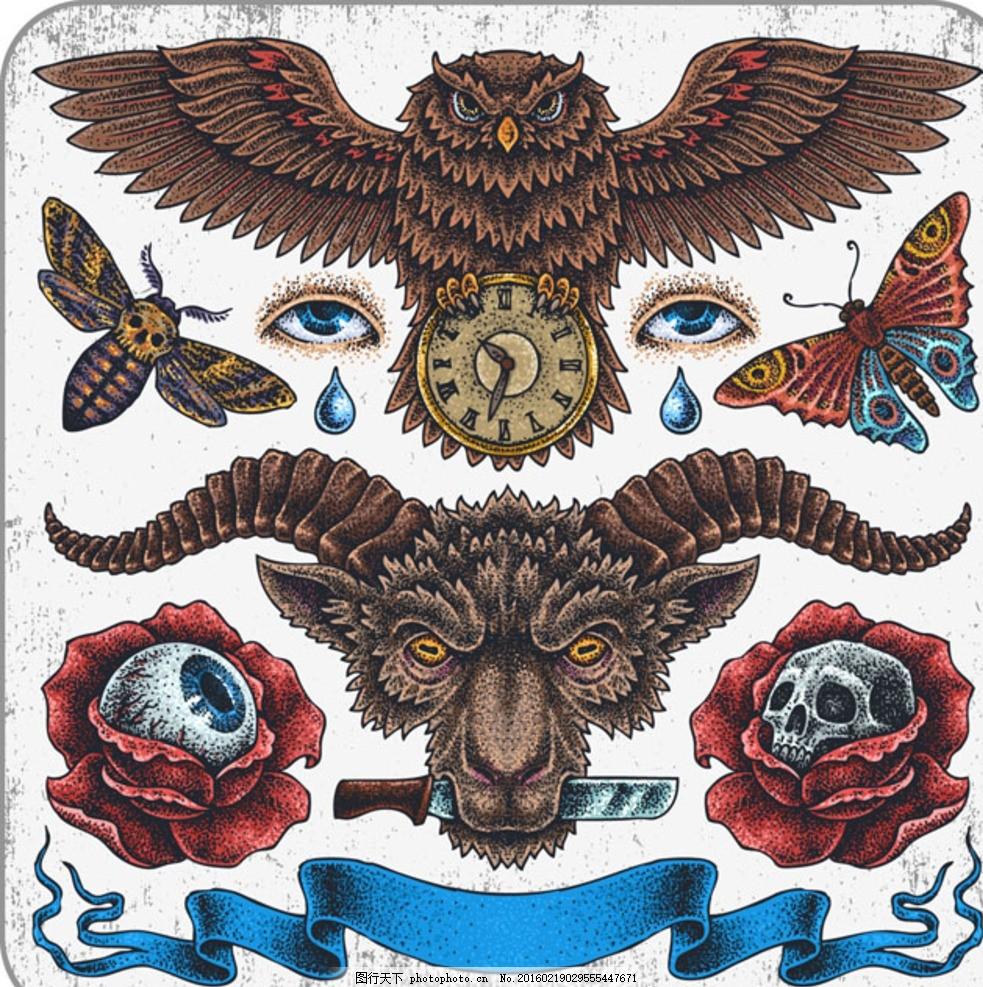 欧美纹身图案 纹身 邪恶纹身 欧式古典纹身 图腾纹身 狼头 猫头鹰