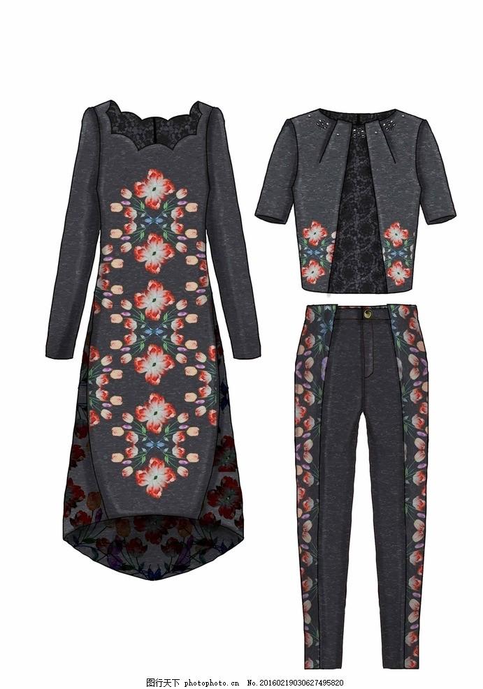 服装设计 套装 花型绣花设计 女装设计 潮流女装 设计素材
