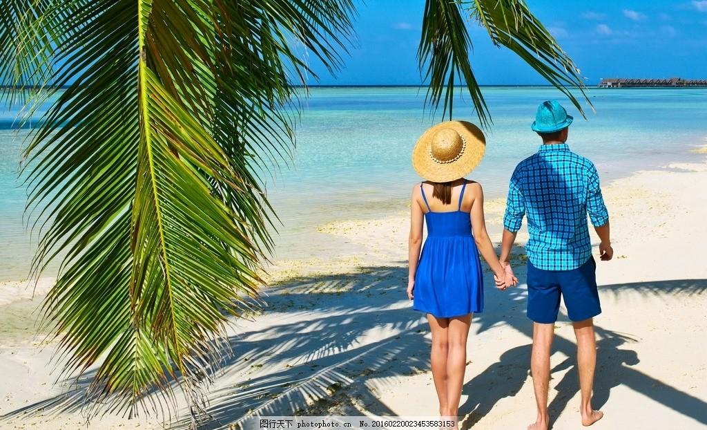 海边情侣 沙滩 情侣 牵手 背影 大海 摄影 人物图库 人物摄影 300dpi