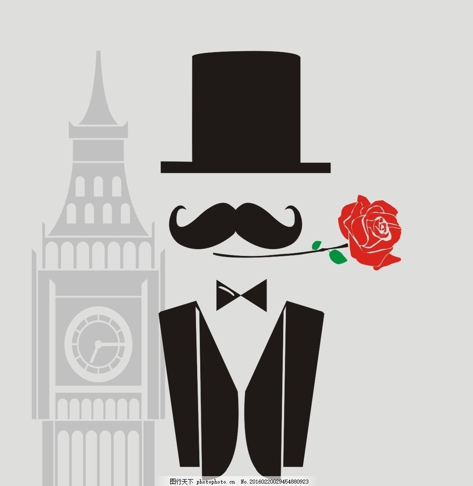 英国绅士 绅士简笔画 公爵 大本钟 简笔画 设计 广告设计 logo设计 cd