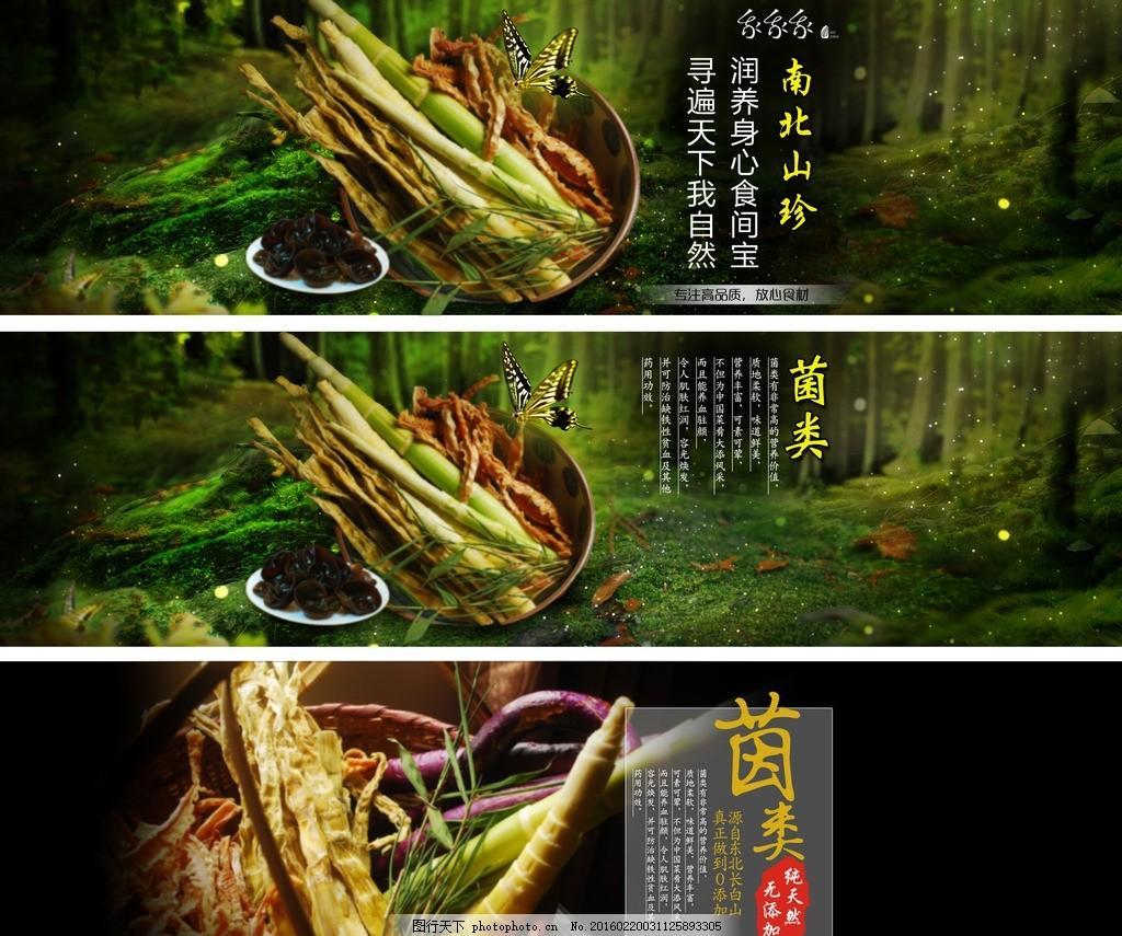 菌类 菌海报 木耳 绿色 清新 淘宝海报 海报 店铺装修 笋 森林 木耳