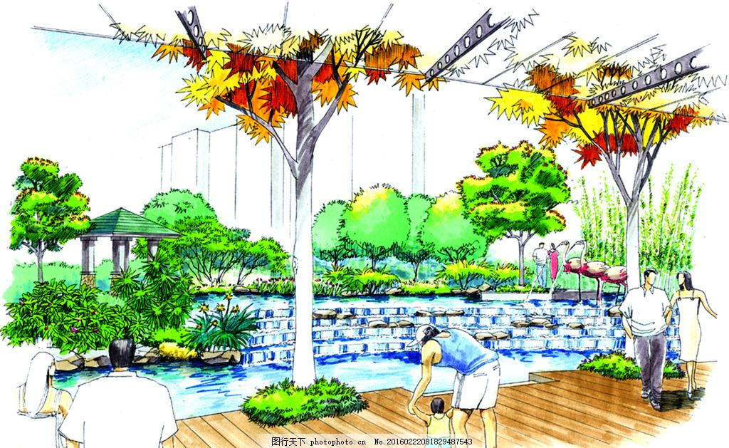 中通效果图 手绘 表现 配景 园林 景观 建筑 植物 分层 自然景观