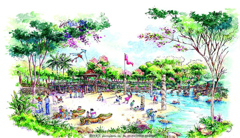 沙滩风情园 手绘 表现        配景 素材 园林 景观 建筑 植物 分层
