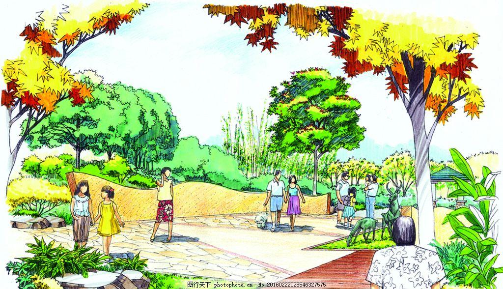 中通效果图 手绘 表现        配景 素材 园林 景观 建筑 植物 分层