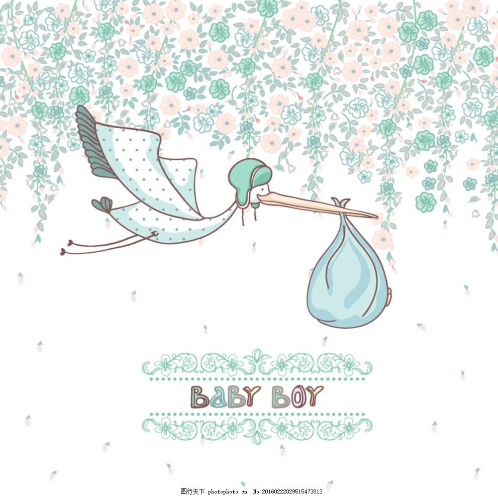 童趣送子鹤卡片 花卉 花朵 植物 仙鹤 花纹 装饰 插画 背景