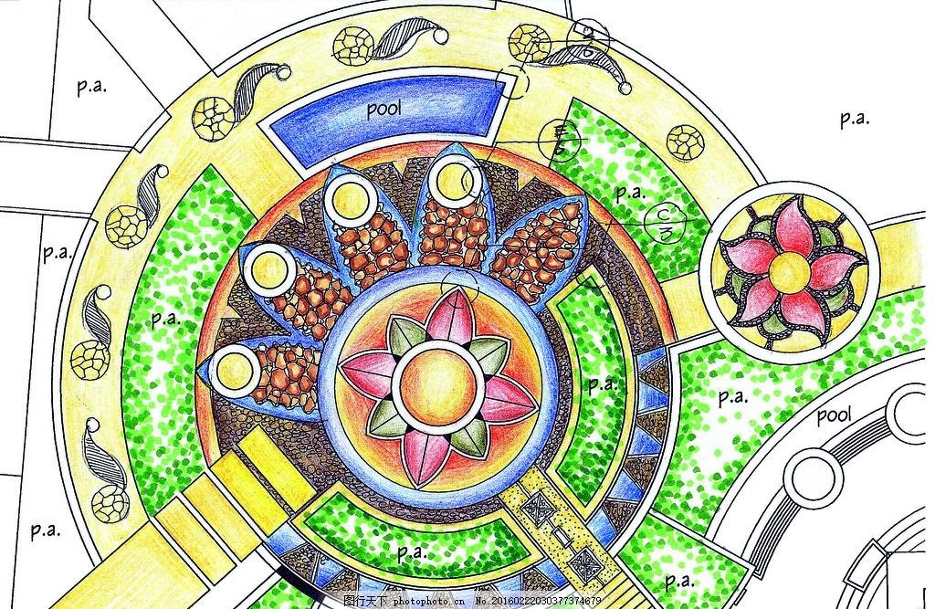 武汉平面 手绘 表现 效果图 配景 园林 景观 建筑 植物 分层