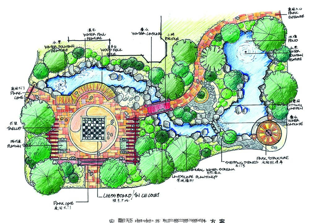半球景作品 手绘 表现        配景 素材 园林 景观 建筑 植物 分层