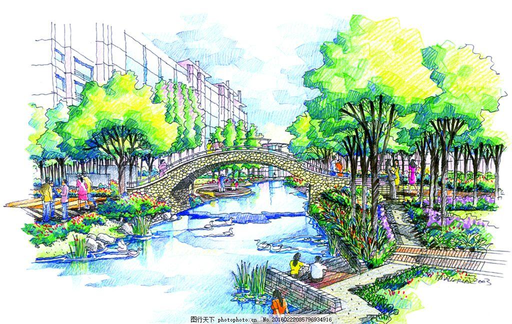 常州河景花园运河景观 手绘 表现 效果图 配景 园林 建筑 植物
