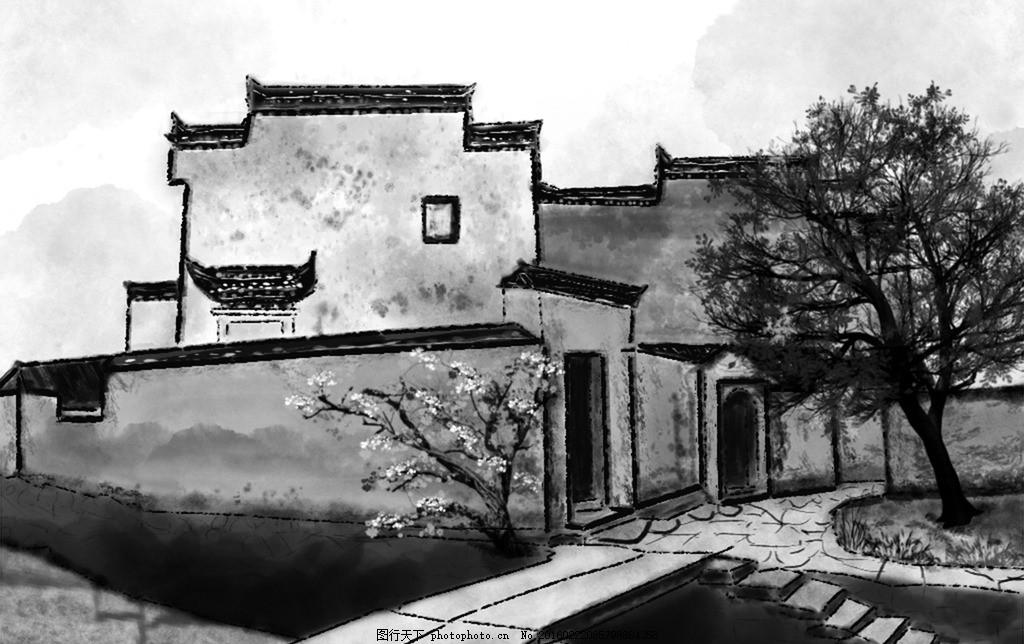 山村 农村 江南 山区 小桥 流水 水墨 手绘 自然景观 自然风光