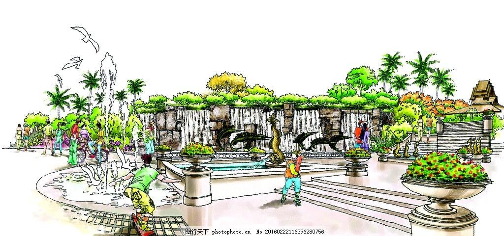 森语线稿 手绘 表现 效果图 配景 园林 景观 建筑 植物 分层