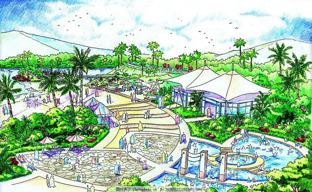 仙湖大坝 手绘 表现 效果图 配景 园林 景观 建筑 植物 分层