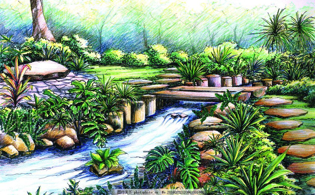 环境设计 装饰素材 后期素材 草 树 环境优雅 花园 绿化 水 现代建筑