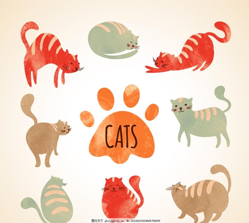 可爱水彩猫咪 可爱 水彩 猫咪 动物 宠物 小猫 猫 脚印 彩绘 插画