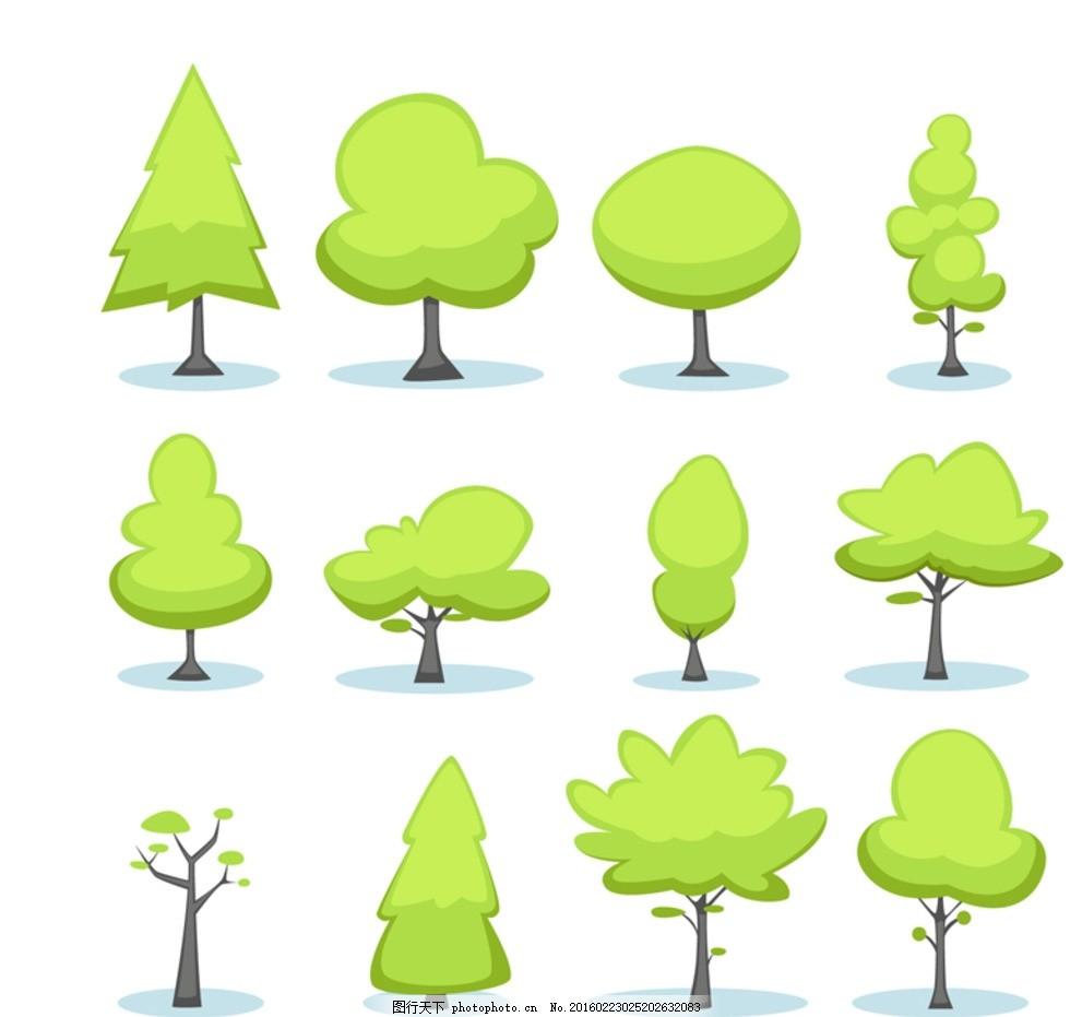 卡通绿色树木 卡通 绿色 树木 大树 植物 插画 背景 海报 画册 矢量