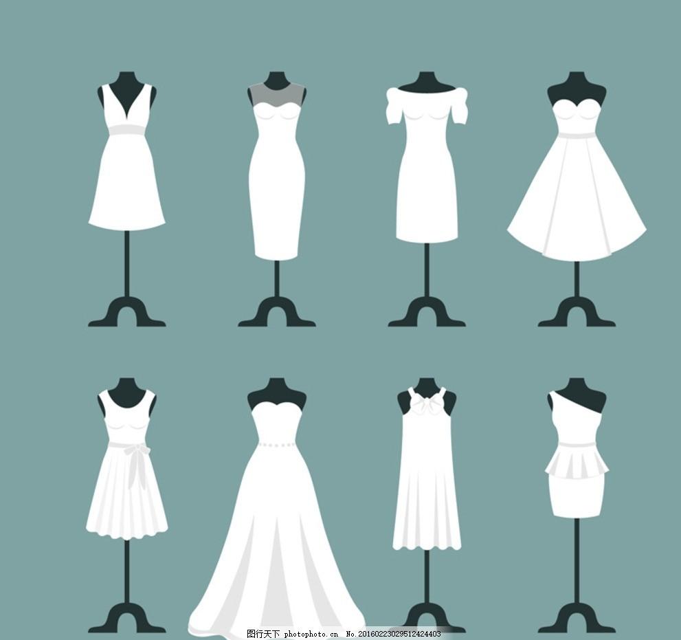 白色婚纱 婚纱 晚礼服 白色 婚纱设计 矢量素材 示意图 设计 广告设计