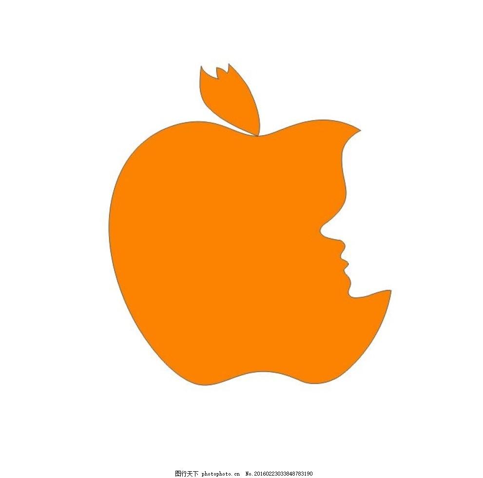 苹果 异影同构 橘黄色 简单设计 人脸 设计 其他 图片素材 cdr