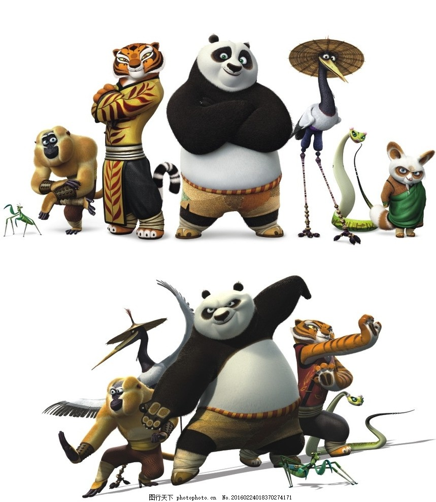 功夫熊猫 功夫 熊猫 灵鹤 螳螂 动漫 动漫人物 设计 动漫动画 动漫