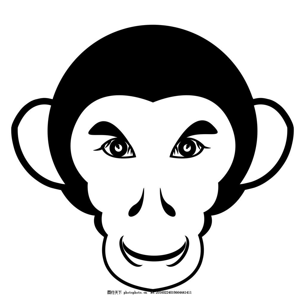 卡通猴头像,猴子 猩猩 可爱猴子 卡通猴子 黑白猴-图