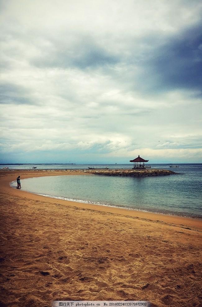 巴厘岛 海边 沙滩 云 海湾 亭 摄影 国外旅游