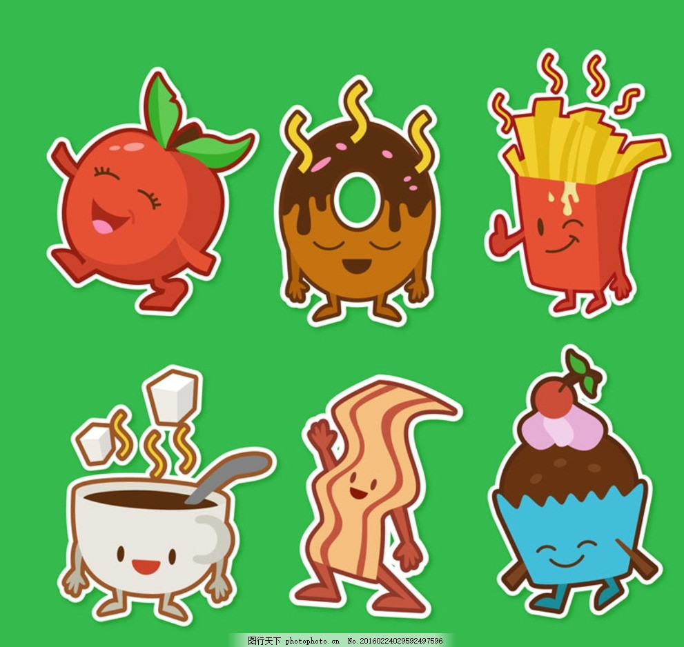 卡通快餐食品 可爱快餐食品 苹果 甜甜圈 薯条 咖啡 冰淇淋 培根