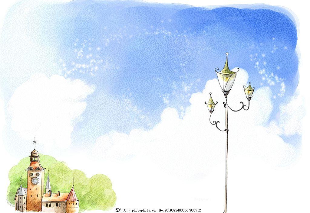 路灯手绘背景 花纹 手绘 背景底纹 儿童 卡通 儿童手绘 卡通画 儿童画