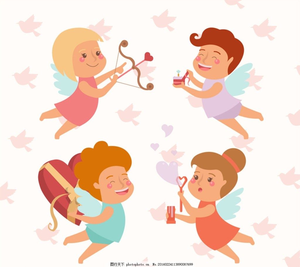 可爱 情人节 天使 爱神 丘比特 爱心 心型 心形 礼物 礼盒 礼包 射箭