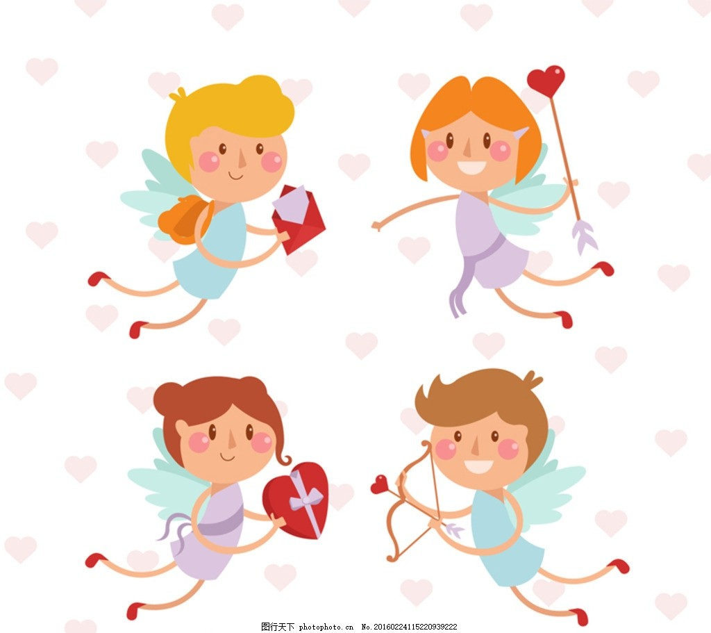可爱情人节天使 可爱 情人节 天使 爱神 丘比特 爱心 心型 心形 礼物