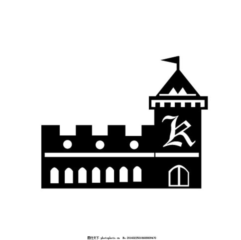 黑白矢量建筑图 矢量 黑色 房屋 建筑 城堡 统一图典 设计 动漫动画
