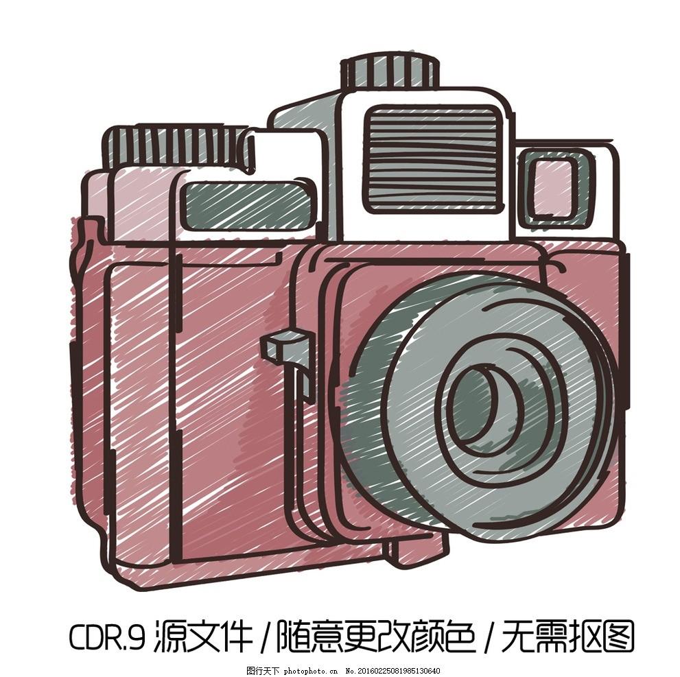 彩绘照相机矢量图 手绘照相机 卡通照相机 矢量素材 照相机素材